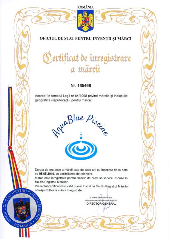 Aqua Blue Piscine Certificat OSIM